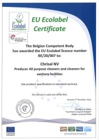 Ecolabel Certificate December 2012